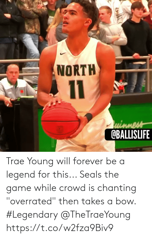 """While: Trae Young will forever be a legend for this... Seals the game while crowd is chanting """"overrated"""" then takes a bow. #Legendary @TheTraeYoung https://t.co/w2fza9Biv9"""