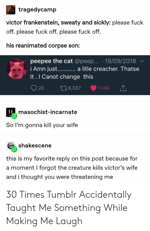 Tumblr, Fuck, and Wife: tragedycamp  victor frankenstein, sweaty and sickly: please fuck  off. please fuck off. please fuck off.  his reanimated corpse son:  peepee the cat @peep... .19/09/2018  i Amn jus.... a litle creacher. Thatse  It. I Canot change this  t16,337  11.6K  20  masochist-incarnate  So l'm gonna kill your wife  shakescene  this is my favorite reply on this post because for  a moment I forgot the creature kills victor's wife  and i thought you were threatening me 30 Times Tumblr Accidentally Taught Me Something While Making Me Laugh