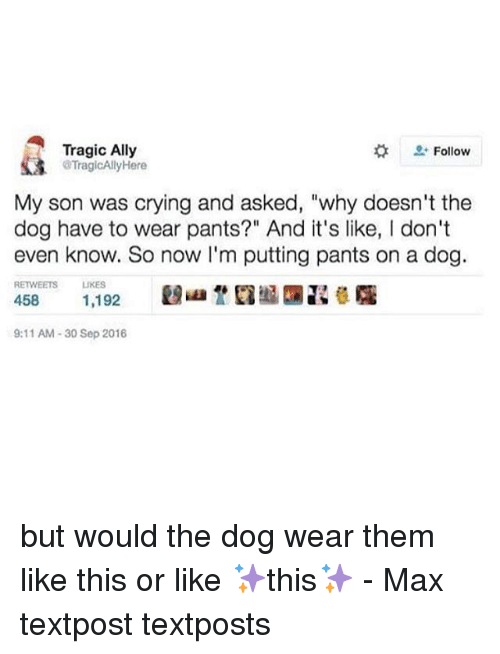 """9/11, Crying, and Memes: Tragic Ally  2: Follow  TragicAllyHere  My son was crying and asked, """"why doesn't the  dog have to wear pants?"""" And it's like, I don't  even know. So now I'm putting pants on a dog.  RETWEETS LIKES  9:11 AM-30 Sep 2016 but would the dog wear them like this or like ✨this✨ - Max textpost textposts"""