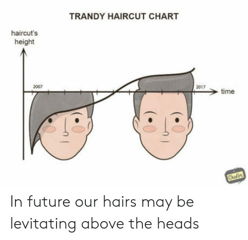 levitating: TRANDY HAIRCUT CHART  haircut's  height  2007  2017  > time In future our hairs may be levitating above the heads