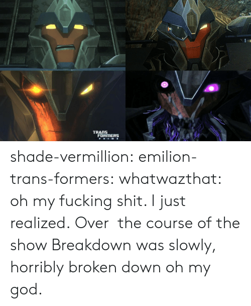 Fucking, God, and Oh My God: TRANS  FORMERS shade-vermillion:  emilion-trans-formers:  whatwazthat:  oh my fucking shit. I just realized. Over  the course of the show Breakdown was slowly, horribly broken down   oh my god.