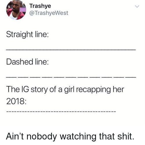 Memes, Shit, and Girl: Trashye  @TrashyeWest  Straight line:  Dashed line:  The IG story of a girl recapping her  2018 Ain't nobody watching that shit.