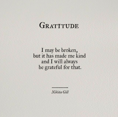 Nikita, May, and Will: TRATITUDE  I may be broken,  but it has made me kind  and I will always  be grateful for that.  Nikita Gil