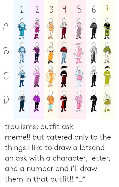 character: traulisms:  outfit ask meme!! but catered only to the things i like to draw a lotsend an ask with a character, letter, and a number and i'll draw them in that outfit!! ^_^