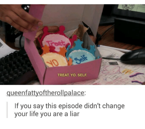 Life, Yo, and Humans of Tumblr: TREAT. YO. SELF  queenfattyoftherollpalace:  If you say this episode didn't change  your life you are a liar