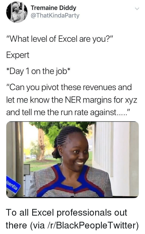"xyz: Tremaine Diddy  @ThatKindaParty  ""What level of Excel are you?""  Expert  *Day 1 on the job*  ""Can you pivot these revenues and  let me know the NER margins for xyz  and tell me the run rate against...."" To all Excel professionals out there (via /r/BlackPeopleTwitter)"