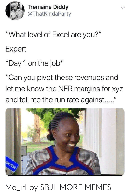 "Dank, Memes, and Run: Tremaine Diddy  @ThatKindaParty  ""What level of Excel are you?""  Expert  *Day 1 on the job*  ""Can you pivot these revenues and  let me know the NER margins for xyz  and tell me the run rate against...."" Me_irl by SBJL MORE MEMES"