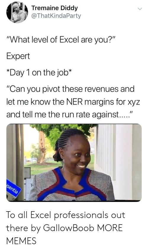"Dank, Memes, and Run: Tremaine Diddy  @ThatKindaParty  ""What level of Excel are you?""  Expert  *Day 1 on the job*  ""Can you pivot these revenues and  let me know the NER margins for xyz  and tell me the run rate against...."" To all Excel professionals out there by GallowBoob MORE MEMES"