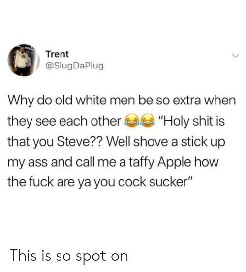 """trent: Trent  @SlugDaPlug  Why do old white men be so extra when  they see each other""""Holy shit is  that you Steve?? Well shove a stick up  my ass and call me a taffy Apple how  the fuck are ya you cock sucker"""" This is so spot on"""
