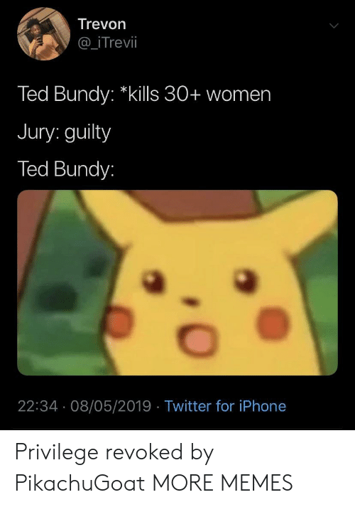 """Dank, Iphone, and Memes: Trevon  @_iTrevil  Ted Bundy: """"kills 30+ women  Jury: guilty  Ted Bundy:  22:34 08/05/2019 Twitter for iPhone Privilege revoked by PikachuGoat MORE MEMES"""