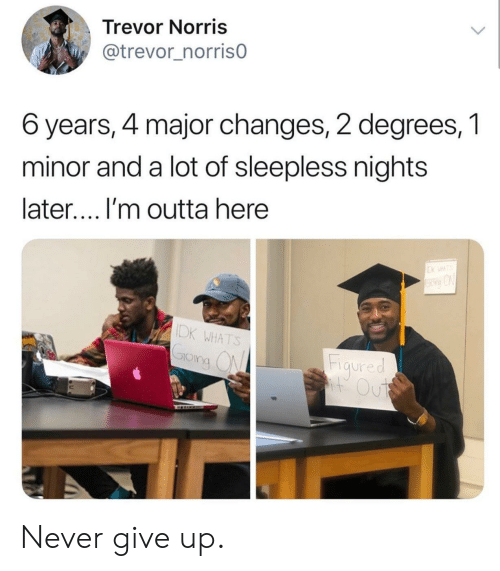 Never, Outta, and Major: Trevor Norris  @trevor_norrisO  6 years, 4 major changes, 2 degrees, 1  minor and a lot of sleepless nights  later.... I'm outta here  DK WHATS  Fiaured  IO  ng ( Never give up.