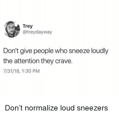 Girl Memes, Who, and Don: Trey  @treydayway  Don't give people who sneeze loudly  the attention they crave.  7/31/18, 1:30 PM Don't normalize loud sneezers