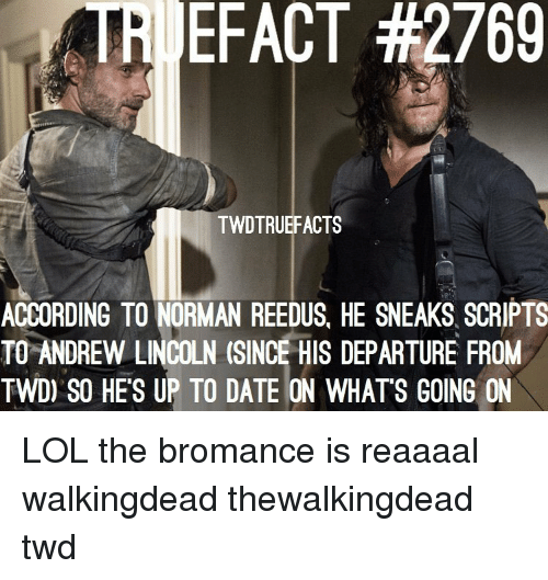 twd: TRI EFACT #2769  TWDTRUEFACTS  ACCORDING TO NORMAN REEDUS, HE SNEAKS SCRIPTS  TO ANDREW LINCOLN (SINCE HIS DEPARTURE FROM  TWD) SO HE'S UP TO DATE ON WHATS GOING ON LOL the bromance is reaaaal walkingdead thewalkingdead twd