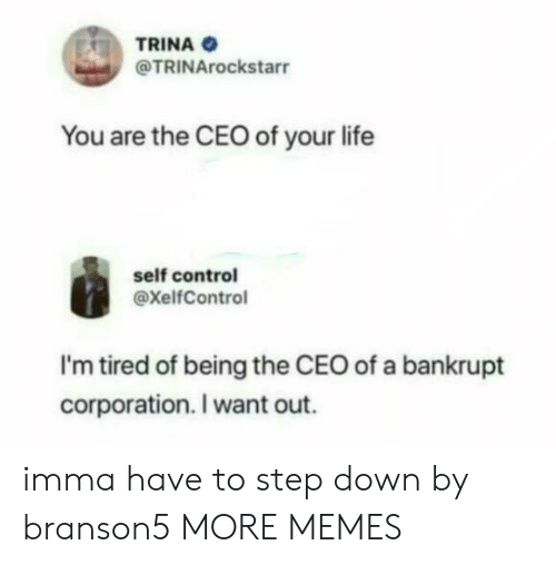 Dank, Life, and Memes: TRINA  @TRINArockstarr  You are the CEO of your life  self control  @xelfControl  I'm tired of being the CEO of a bankrupt  corporation. I want out. imma have to step down by branson5 MORE MEMES