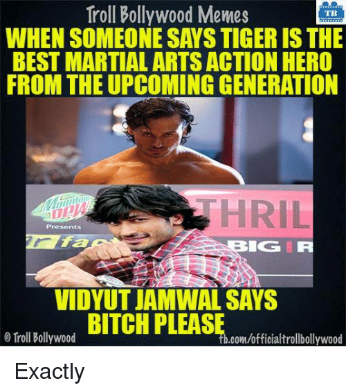 Bollywood Meme: Troll Bollywood Memes  WHEN SOMEONE SAYSTIGER IS THE  BEST MARTIAL ARTS ACTION HERO  FROM THE UPCOMING GENERATION  Presents  LOG IR  VIDYUT JAMWAL SAYS  Troll Bollywood  .com/officialtrollbollywood Exactly