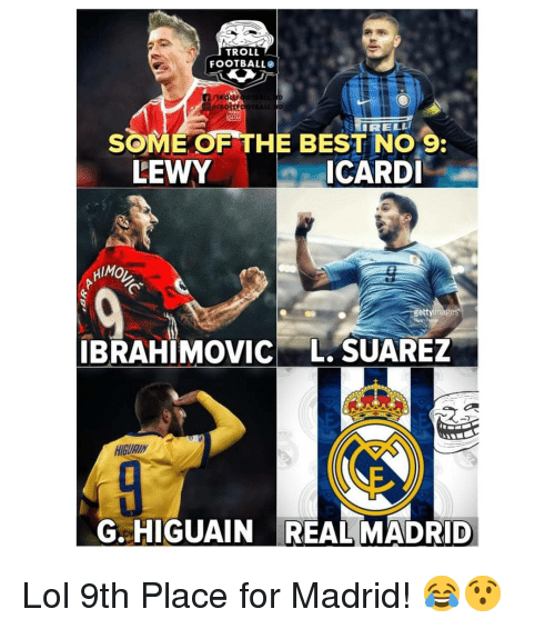higuain: TROLL  FOOTBALL  SOME OF THE BEST NO 9  ICARDI  LEWY  HIMO  ge  IBRAHIMOVIC L. SUAREZ  HIGURIN  G. HIGUAIN REAL MADRID Lol 9th Place for Madrid! 😂😯