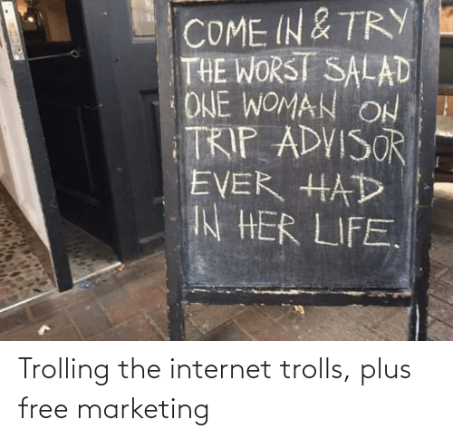 Internet: Trolling the internet trolls, plus free marketing