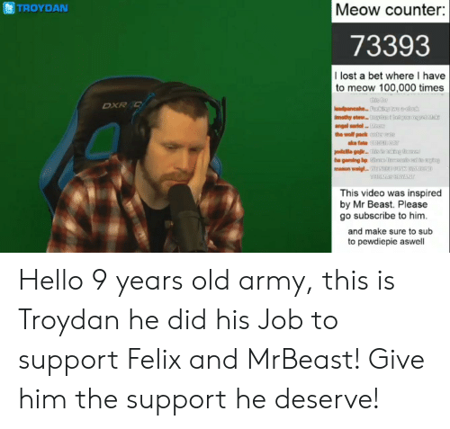 Hello, Lost, and Army: TROY DAN  Meow counter:  73393  I lost a bet where I have  to meow 100,000 times  this tor  angal sariolo  the woll pack order c6  THOMAS BRYANI  This video was inspired  by Mr Beast. Please  go subscribe to him.  and make sure to sub  to pewdiepie aswell Hello 9 years old army, this is Troydan he did his Job to support Felix and MrBeast! Give him the support he deserve!