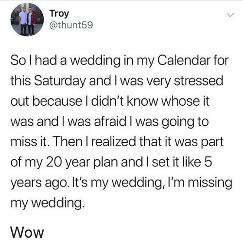 Memes, Wow, and Calendar: Troy  @thunt59  So l had a wedding in my Calendar for  this Saturday and I was very stressed  out because I didn't know whose it  was and l was afraid l was going to  miss it. Then I realized that it was part  of my 20 year plan and I set it like 5  years ago. It's my wedding, I'm missing  my wedding. Wow