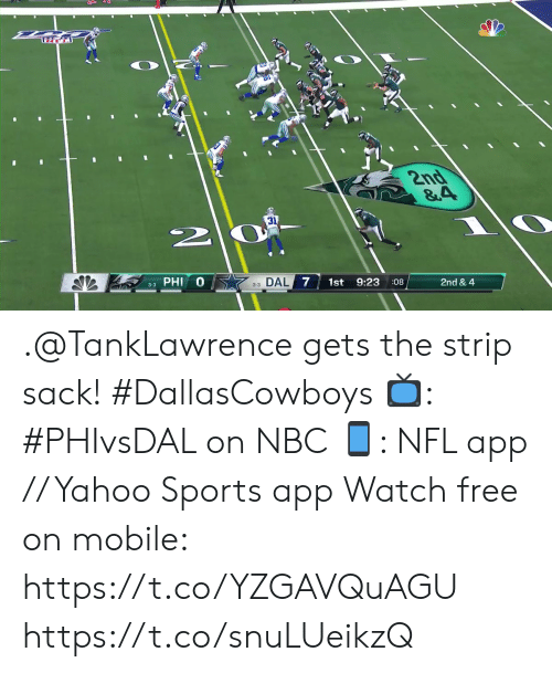strip: TRT  2nd  &4  31  3-3 PHI  33 DAL 7  1st  9:23  08  2nd & 4  AV .@TankLawrence gets the strip sack! #DallasCowboys  📺: #PHIvsDAL on NBC 📱: NFL app // Yahoo Sports app Watch free on mobile: https://t.co/YZGAVQuAGU https://t.co/snuLUeikzQ