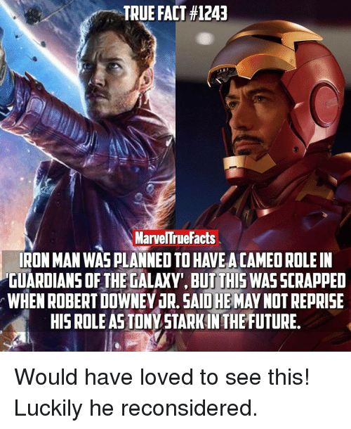 Iron Man, Memes, and Guardian: TRUE FACT #1243  MarvelTrue Facts  IRON MAN WAS PLANNEOTO HAVE ACAMEOROLE IN  GUARDIANS OF THE GALAXY, BUT THIS WASSCRAPPED  r WHENROBERTDOWNEY 1R. OHE  MAY NOT REPRISE  SAID HIS ROLE ASTONY STARKIN THE FUTURE. Would have loved to see this! Luckily he reconsidered.