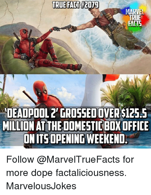 true fact: TRUE FACT  #2079  TRUE  FACTS  DEADPOOL2' GROSSED OVER $125.5  MILLION AT THE DOMESTIC BOX OFFICE  ONITSOPENINGWEEKEND Follow @MarvelTrueFacts for more dope factaliciousness. MarvelousJokes