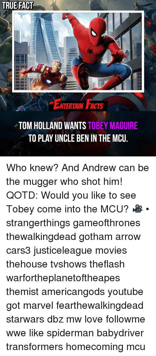 Tobey Maguire: TRUE FACT  ENTERIAIN FACTS  NTERTAIN FACTS  TOM HOLLAND WANTS TOBEY MAGUIRE  TO PLAY UNCLE BEN IN THE MCU. Who knew? And Andrew can be the mugger who shot him! QOTD: Would you like to see Tobey come into the MCU? 🎥 • strangerthings gameofthrones thewalkingdead gotham arrow cars3 justiceleague movies thehouse tvshows theflash warfortheplanetoftheapes themist americangods youtube got marvel fearthewalkingdead starwars dbz mw love followme wwe like spiderman babydriver transformers homecoming mcu