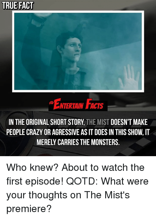 agressive: TRUE FACT  ENTERTAIN FACTS  IN THE ORIGINAL SHORT STORY, THE MIST DOESN'T MAKE  PEOPLE CRAZY OR AGRESSIVE AS IT DOES IN THIS SHOW, IT  MERELY CARRIES THE MONSTERS. Who knew? About to watch the first episode! QOTD: What were your thoughts on The Mist's premiere?