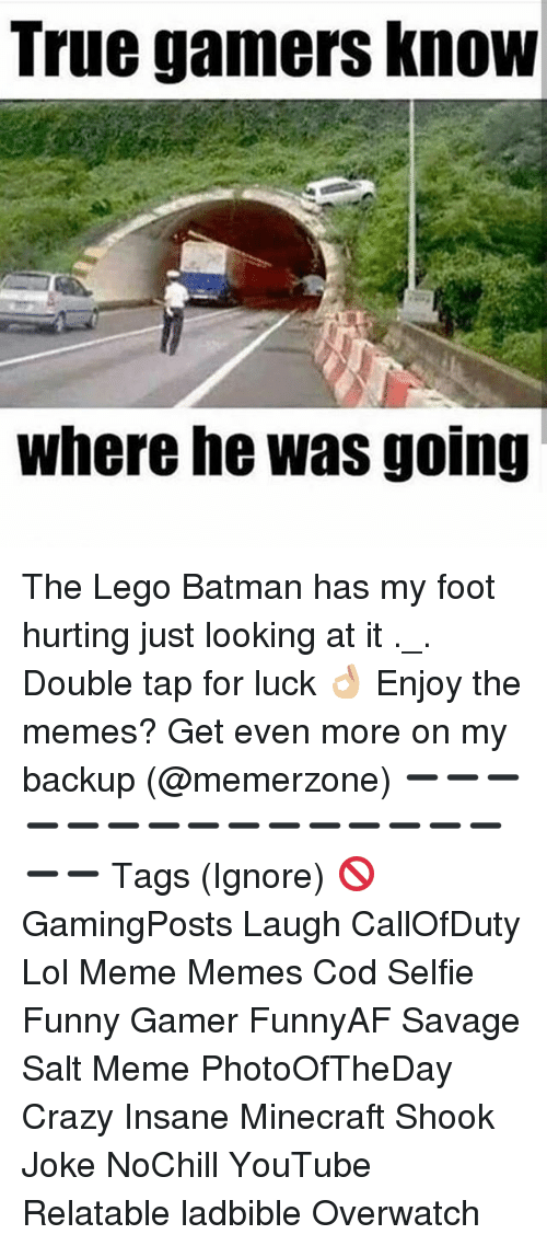 minecrafte: True gamers KnoW  where he was going The Lego Batman has my foot hurting just looking at it ._. Double tap for luck 👌🏼 Enjoy the memes? Get even more on my backup (@memerzone) ➖➖➖➖➖➖➖➖➖➖➖➖➖➖➖➖➖ Tags (Ignore) 🚫 GamingPosts Laugh CallOfDuty Lol Meme Memes Cod Selfie Funny Gamer FunnyAF Savage Salt Meme PhotoOfTheDay Crazy Insane Minecraft Shook Joke NoChill YouTube Relatable ladbible Overwatch