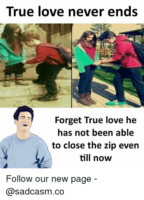Love, Memes, and True: True love never ends  Forget True love he  has not been able  to close the zip even  till now Follow our new page - @sadcasm.co