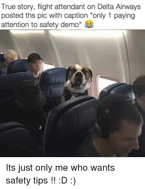 """True, Delta, and Flight: True story, flight attendant on Delta Airways  posted ths pic with caption """"only 1 paying  attention to safety demo"""" Its just only me who wants safety tips !! :D :)"""