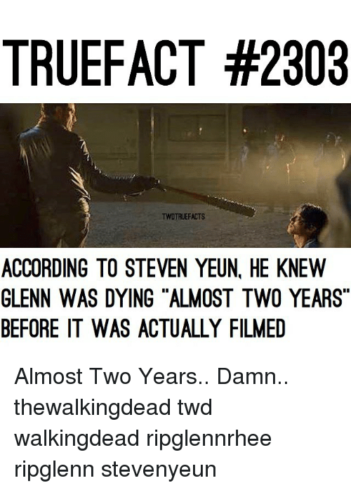 """Steven Yeun: TRUEFACT #2303  TWDTRUEFACTS  ACCORDING TO STEVEN YEUN HE KNEW  GLENN WAS DYING ALMOST TWO YEARS""""  BEFORE IT WAS ACTUALLY FILMED Almost Two Years.. Damn.. thewalkingdead twd walkingdead ripglennrhee ripglenn stevenyeun"""
