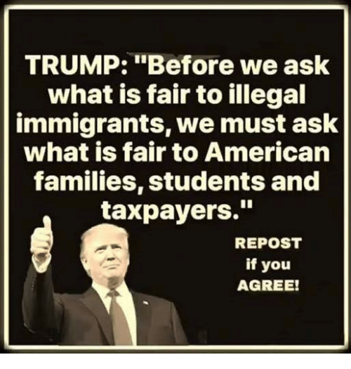 "Illegal Immigrants: TRUMP: ""Before we ask  what is fair to illegal  immigrants, we must ask  what is fair to American  families, students and  taxpayers.""  REPOST  if you  AGREE!"