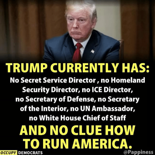 America, Run, and White House: TRUMP CURRENTLY HAS:  No Secret Service Director, no Homeland  Security Director, no ICE Director,  no Secretary of Defense, no Secretary  of the Interior, no UN Ambassador,  no White House Chief of Staff  AND NO CLUE HOW  TO RUN AMERICA.  OCCUPY DEMOCRATS  @Pappiness