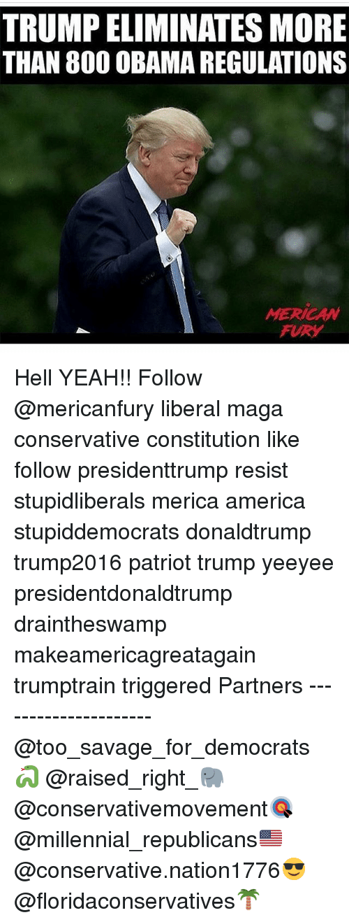 Hells Yeah: TRUMP ELIMINATES MORE  THAN 80O OBAMA REGULATIONS  MERICAW  FURY Hell YEAH!! Follow @mericanfury liberal maga conservative constitution like follow presidenttrump resist stupidliberals merica america stupiddemocrats donaldtrump trump2016 patriot trump yeeyee presidentdonaldtrump draintheswamp makeamericagreatagain trumptrain triggered Partners --------------------- @too_savage_for_democrats🐍 @raised_right_🐘 @conservativemovement🎯 @millennial_republicans🇺🇸 @conservative.nation1776😎 @floridaconservatives🌴