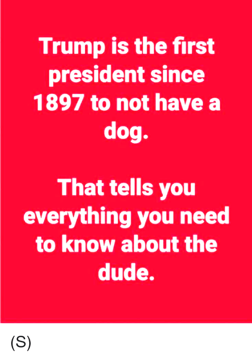 Dude, Trump, and Dog: Trump is the first  president since  1897 to not have a  dog.  That tells you  everything you need  to know about the  dude. (S)