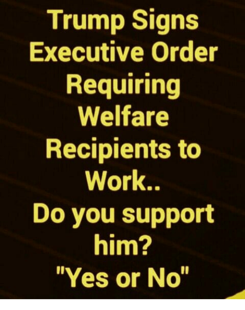 """executive order: Trump Signs  Executive Order  Requiring  Welfare  Recipients to  Work..  Do you support  him?  """"Yes or No"""""""