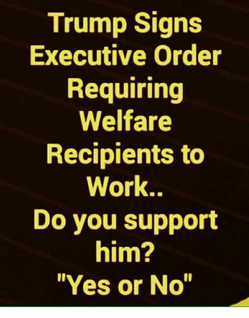 """Memes, Work, and Trump: Trump Signs  Executive Order  Requiring  Welfare  Recipients to  Work..  Do you support  him?  Yes or No"""""""