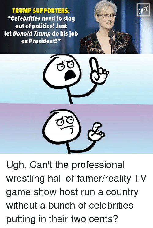 """Memes, Wrestling, and Cent: TRUMP SUPPORTERS:  """"Celebrities need to stay  out of politics! Just  let Donald Trump do his job  as President!""""  CAFE Ugh. Can't the professional wrestling hall of famer/reality TV game show host run a country without a bunch of celebrities putting in their two cents?"""