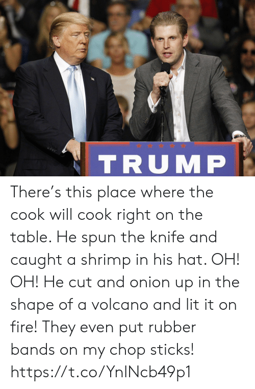 Fire, Lit, and Memes: TRUMP There's this place where the cook will cook right on the table. He spun the knife and caught a shrimp in his hat. OH! OH! He cut and onion up in the shape of a volcano and lit it on fire! They even put rubber bands on my chop sticks! https://t.co/YnINcb49p1