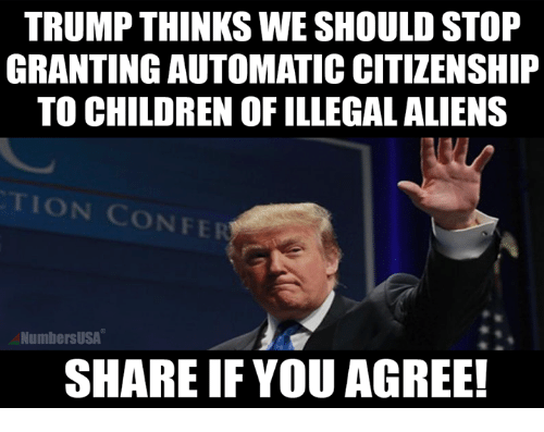 confer: TRUMP THINKS WE SHOULD STOP  GRANTING AUTOMATIC CITIZENSHIP  TO CHILDREN OF ILLEGAL ALIENS  TION CONFER  NumbersUSA  SHARE IF YOU AGREE!