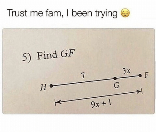 trust: Trust me fam, I been trying  5) Find GF  3x  F  Не  G  9x+ 1