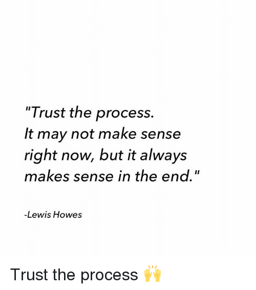 """Procession: """"Trust the process.  It may not make sense  right now, but it always  makes sense in the end.""""  -Lewis Howes Trust the process 🙌"""