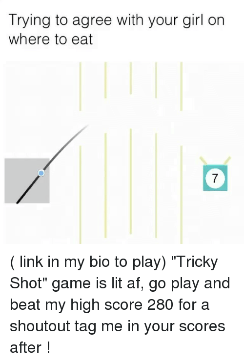 "withings: Trying to agree with your girl on  where to eat ( link in my bio to play) ""Tricky Shot"" game is lit af, go play and beat my high score 280 for a shoutout tag me in your scores after !"
