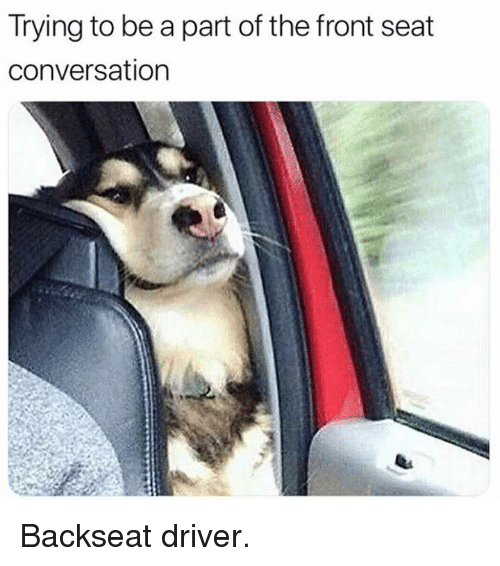 Dank, 🤖, and Driver: Trying to be a part of the front seat  conversation Backseat driver.