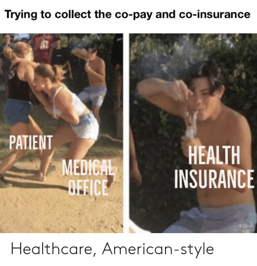 insurance: Trying to collect the co-pay and co-insurance  PATIENT  MEDICAL  OFFICE  HEALTH  INSURANCE Healthcare, American-style