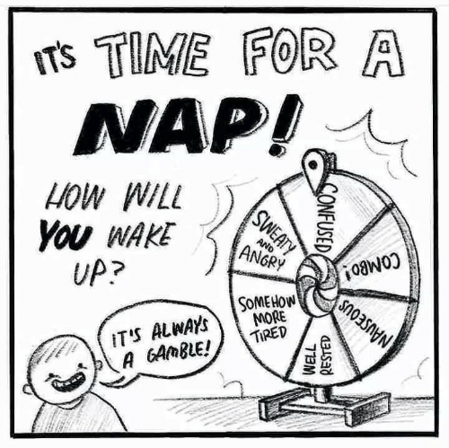 Confused, Time, and Angry: Ts TIME FOR A  NAP!  HOW WILL  You WAKE  UP?  AND  ANGRY  COMBO!  SOMEHOW  MORE  TIRED  IT'S ALWAYS  A GAMBLE!  NAUSEOUS  SWEATY  CONFUSED  WELL  RESTED