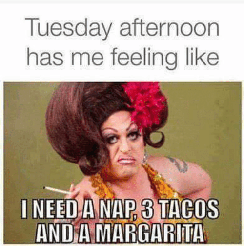 tacos: Tuesday afternoon  has me feeling like  INEED A NAP 3 TACOS  AND A MARGARITA