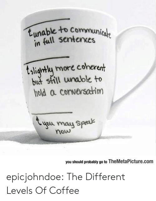 Should Probably: tunable to Communicale  in full sentences  tsligntly more coherent  but shill unable to  hold a conversahion  you may Speak  now  you should probably go to TheMetaPicture.com epicjohndoe:  The Different Levels Of Coffee