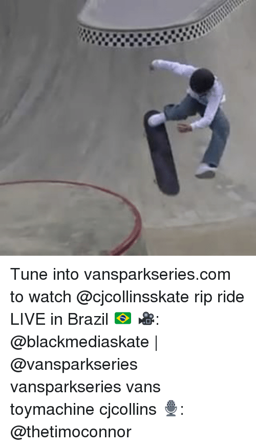 Tuned Into: Tune into vansparkseries.com to watch @cjcollinsskate rip ride LIVE in Brazil 🇧🇷 🎥: @blackmediaskate   @vansparkseries vansparkseries vans toymachine cjcollins 🎙: @thetimoconnor